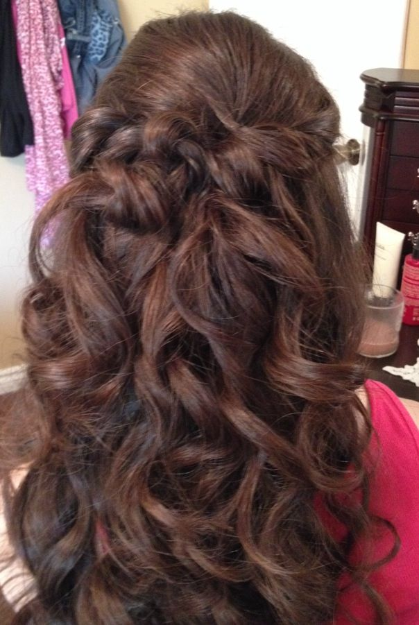 Bridesmaid Hair: tons of hair spray, a lot of bobby pins, and a curling iron!