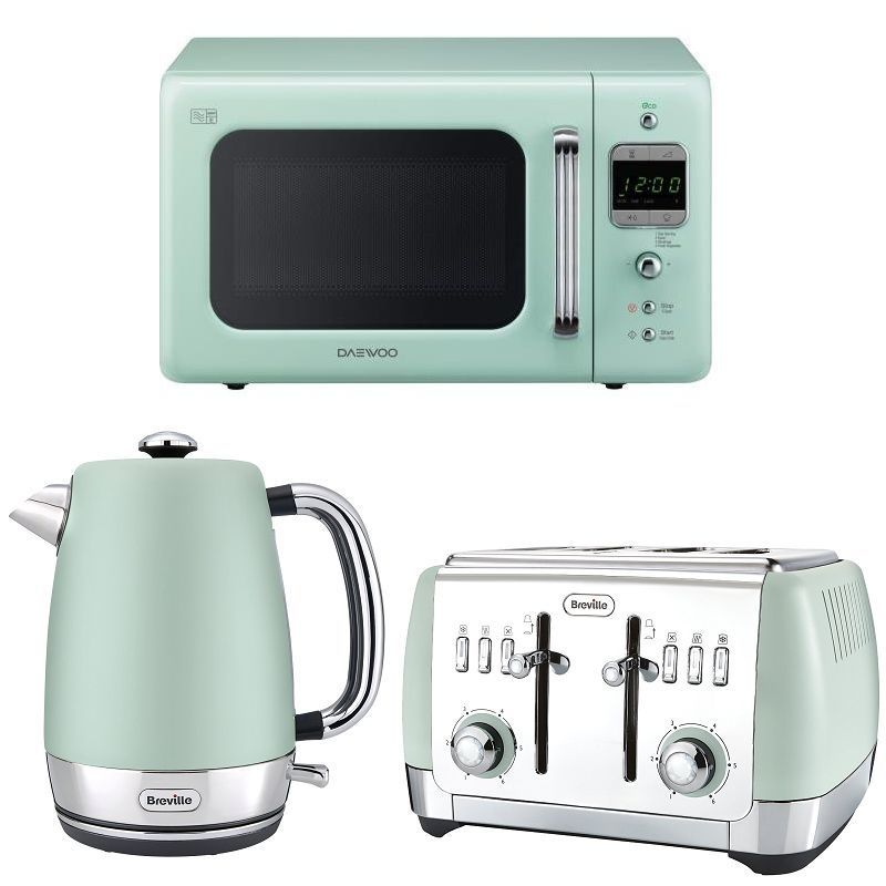 Mint Green Daewoo Retro Design Microwave + Breville Kettle & Toaster ...