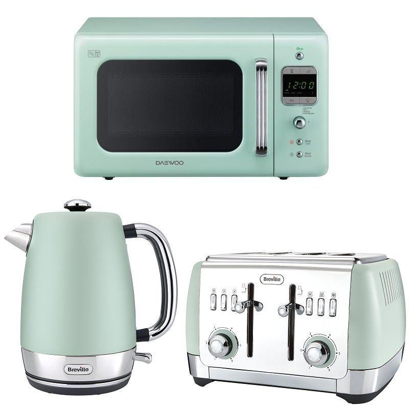 Mint green daewoo retro design microwave breville kettle for Kitchen set kettle toaster