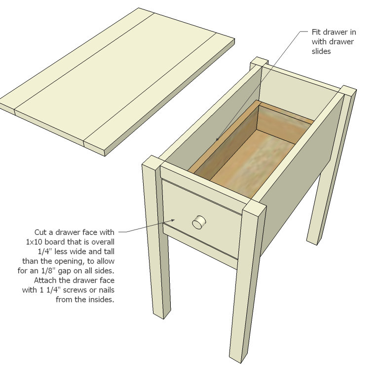 Narrow Cottage End Tables Diy Side Table Furniture Plans Easy Woodworking Projects