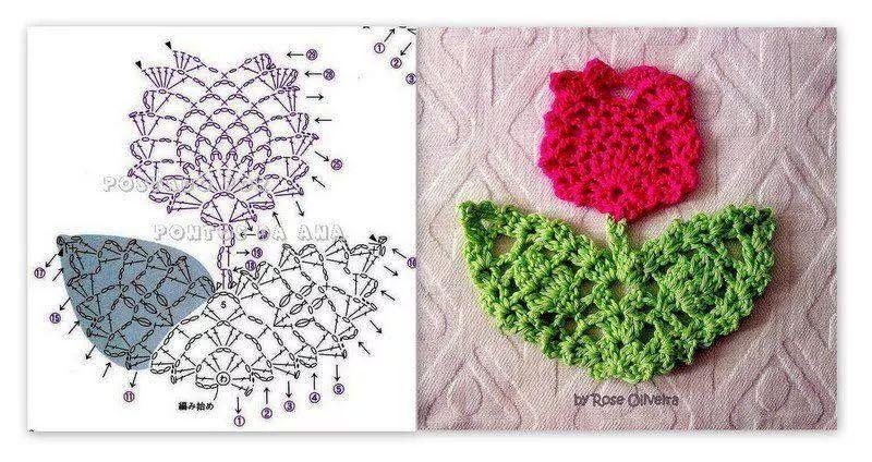 Motivo rosa crochet patron | Flores y hojas crochet | Pinterest ...