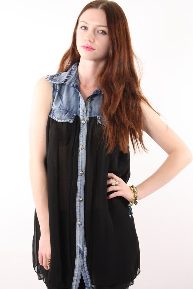 a6b810243 Billy Jean button up $34.00 Denim top and sheer, layered black button down  sleeveless tank