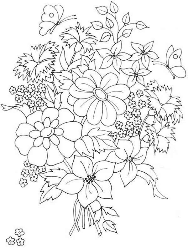 Beautiful Flower Bouquet Coloring Page Color Luna In 2020 Flower Coloring Pages Flower Coloring Sheets Abstract Coloring Pages