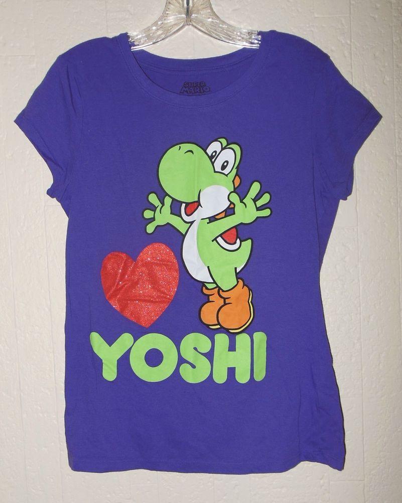 YOSHI NINTENDO SHIRT L XL super mario bros gamer geek nerd glitter heart purple #SuperMario #GraphicTee