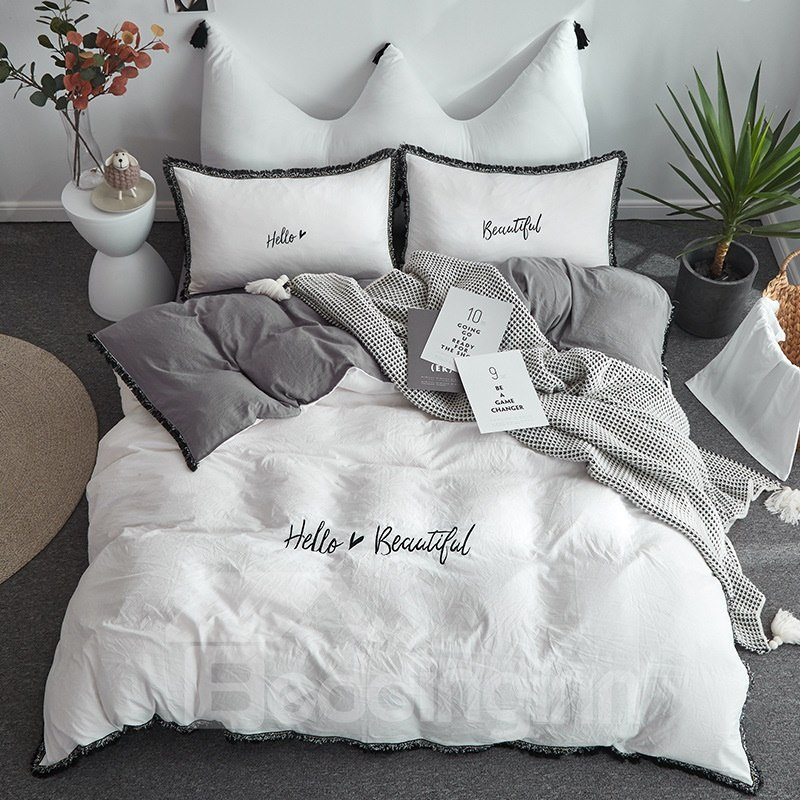 Photo of White Colour Simple Style Duvet Cover Embroider and Macrame Bedding 4-Piece Washable Bedding Sets/Duvet Cover