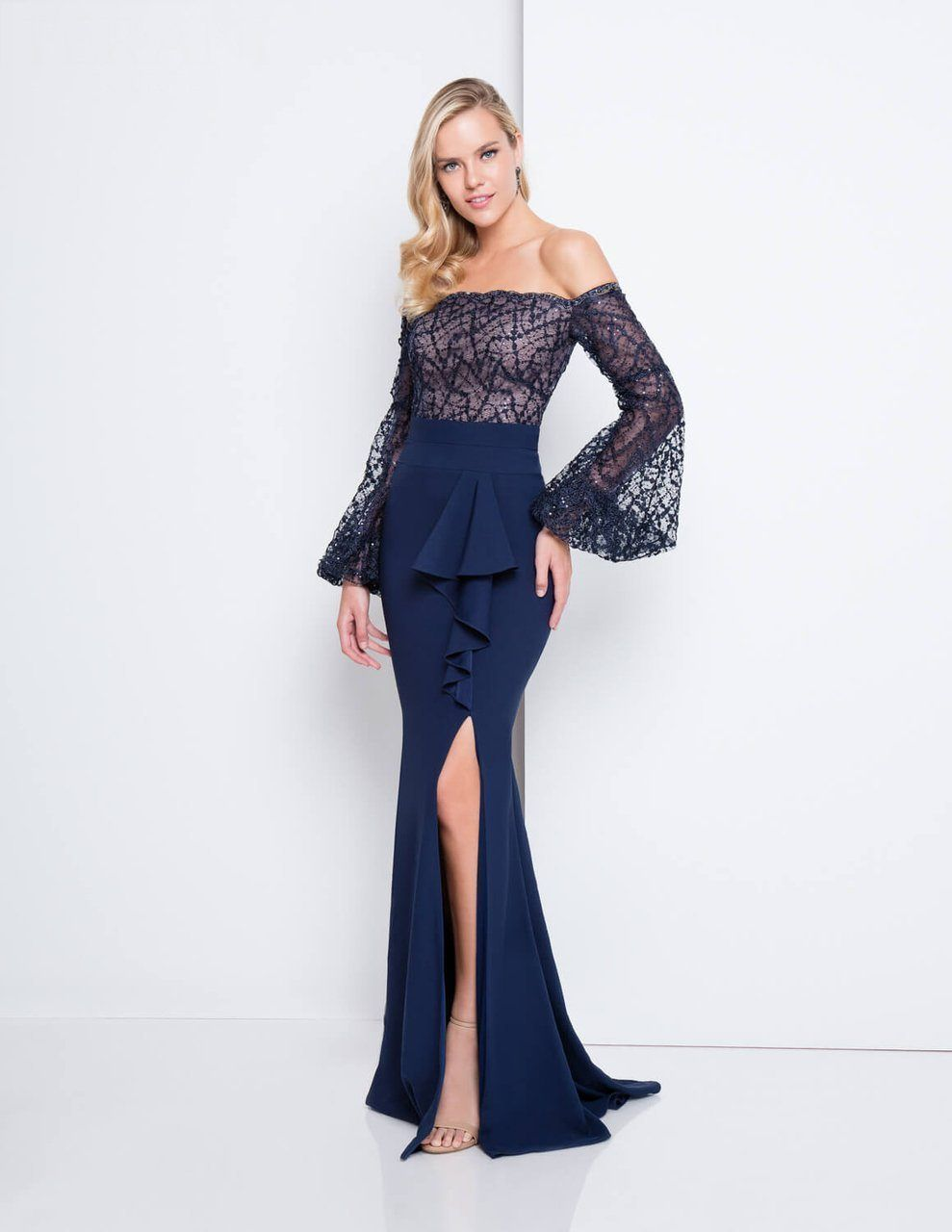 83fcc832b3636 Terani Couture Off Shoulder Bell Sleeve Gown | Products | Maxi dress ...