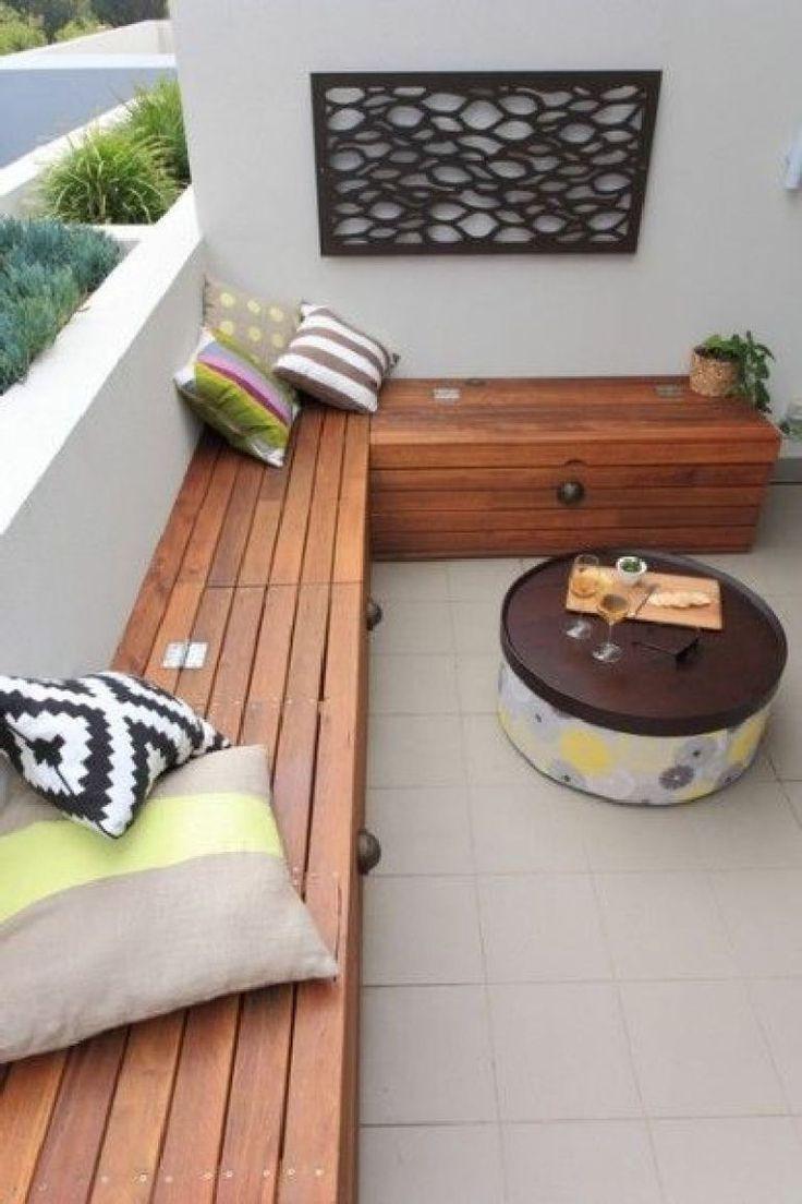 tolle selbstgemachte sitzbank auf dem balkon #diy | garden and