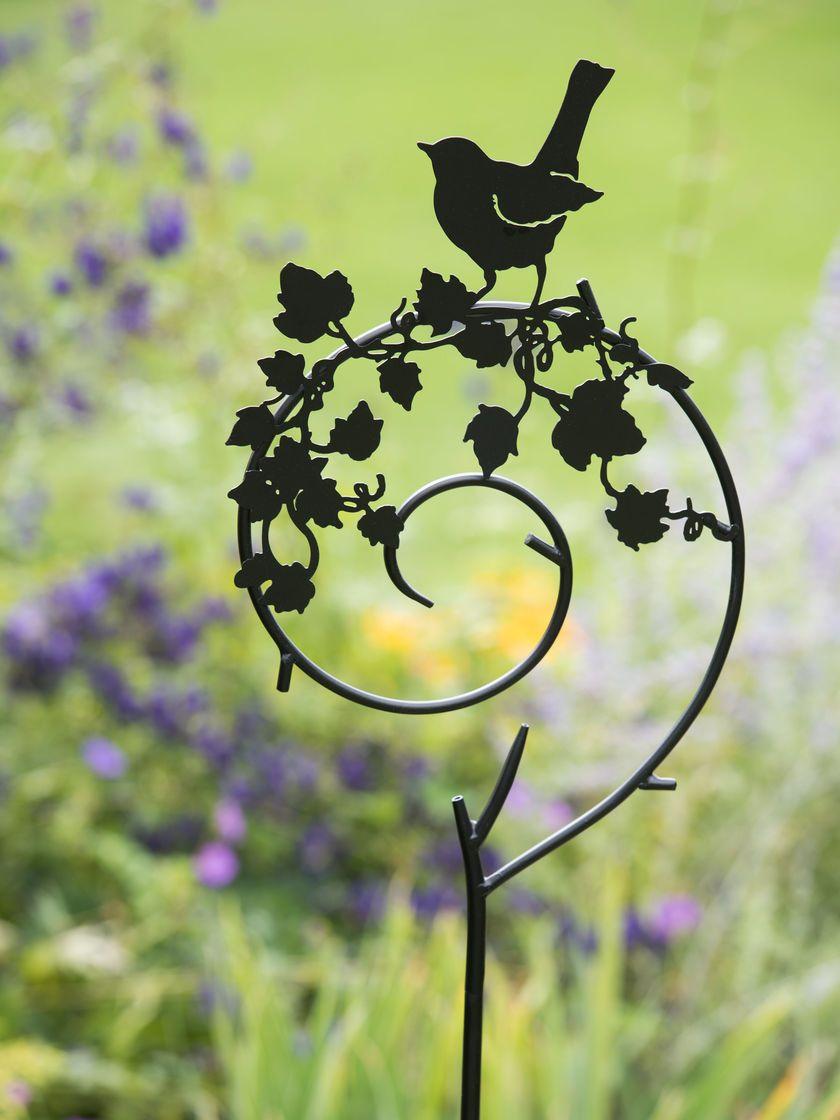 Shepherds Crook Metal Yard Art Stake with Bird   Gardeners ...