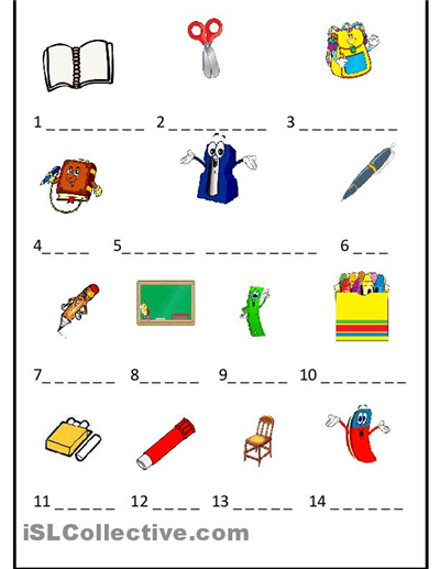 spanish worksheets for kindergarten | ... objects worksheet - Free ...