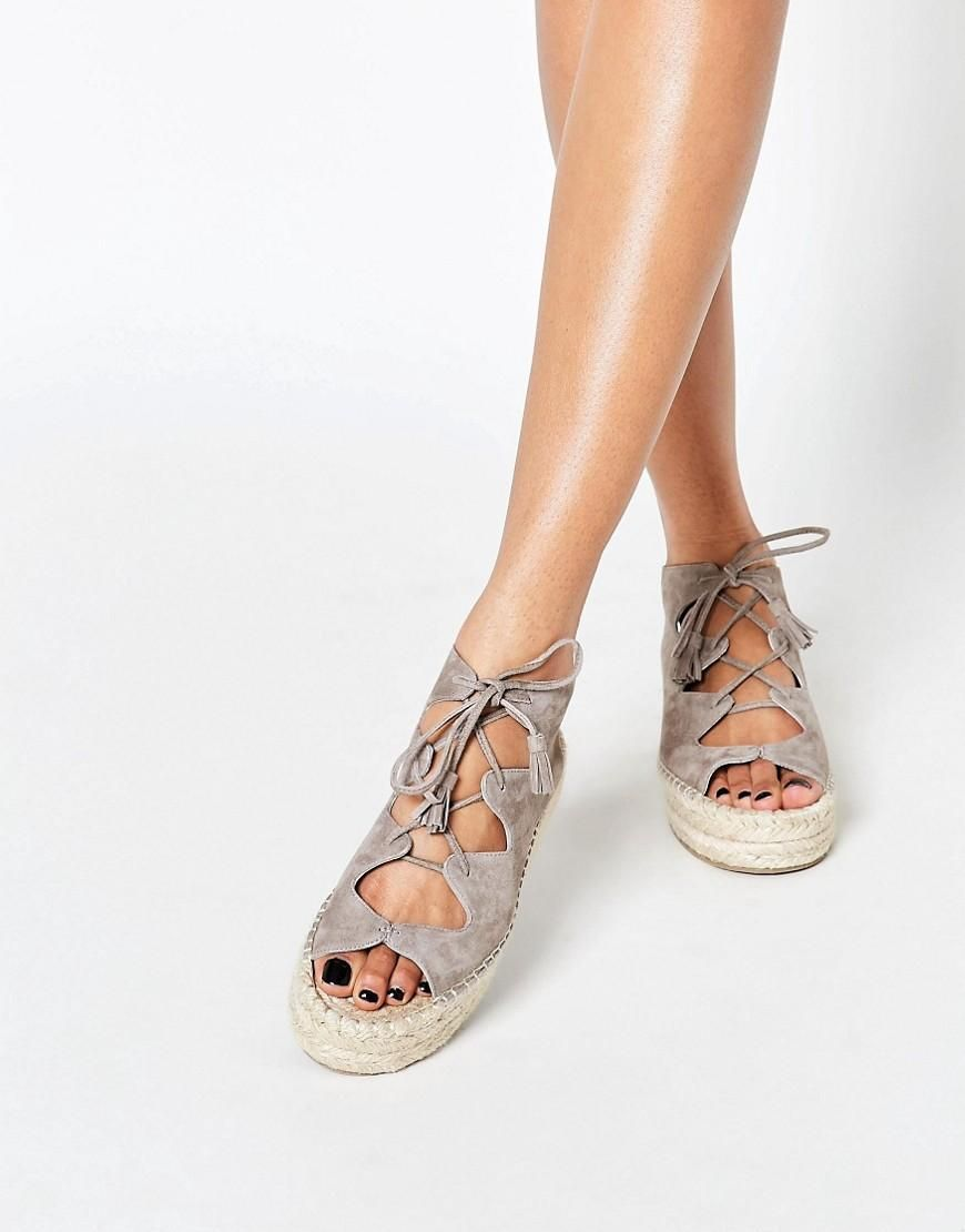 418b6fce75 Faith | Faith Jagged Grey Ghillie Lace Up Espadrille Flatform Sandals at  ASOS