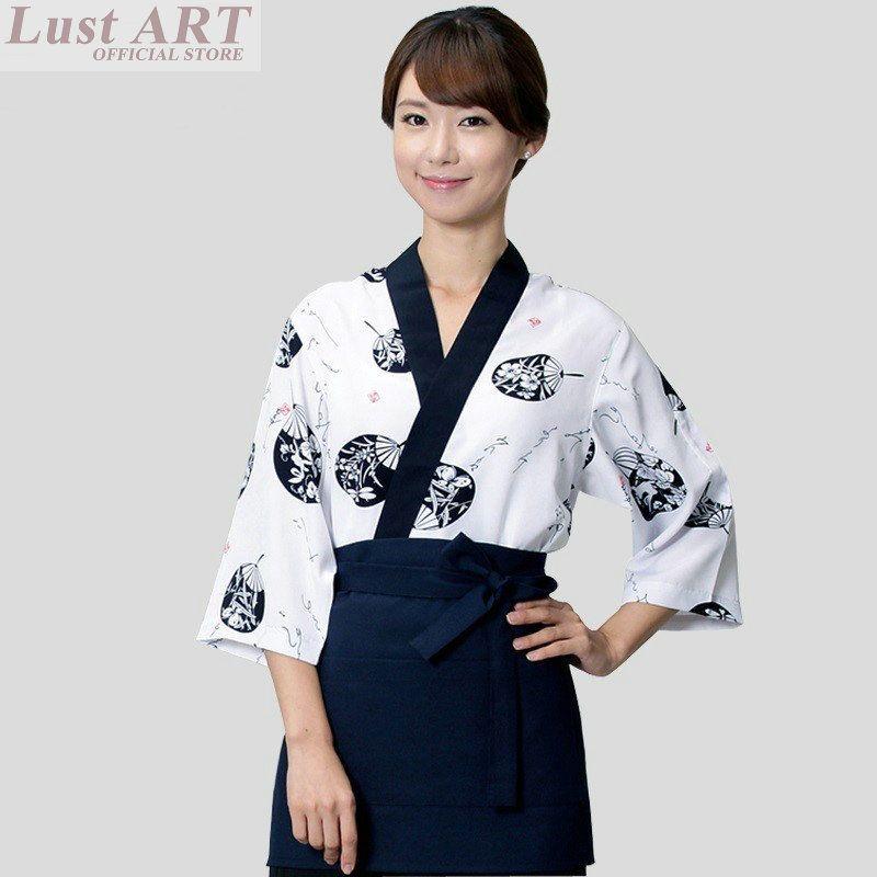 Food Service Sushi Chef Uniform Japanese Restaurant Uniforms New Design Coffee Hotel Waitress AA031