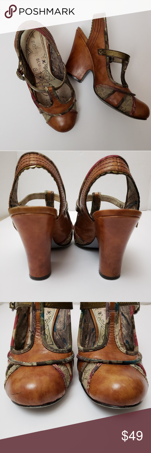 d028119cbf67 Rare Bobbi Blu Lola T Strap Slingback Wedges 5.5 Cute! Mixed media t strap  slingback wedge heels in cognac brown leather