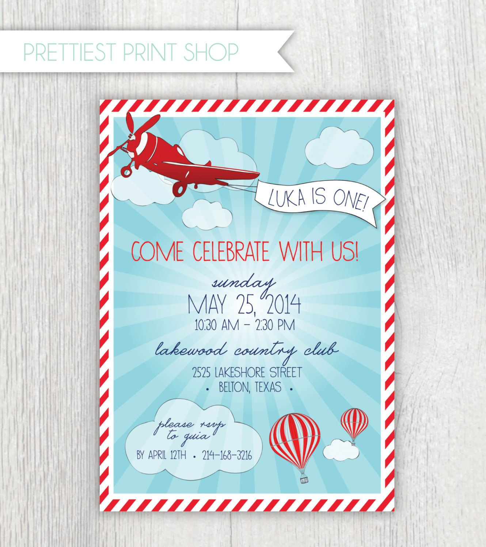 Printable Invitation Vintage Airplane And Hot Air Balloon Etsy Hot Air Balloon Party Printable Invitations Airplane Birthday