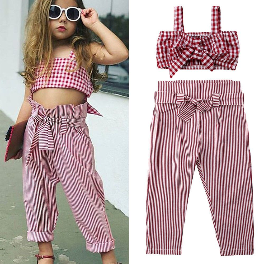 d1ade71a6ec09 New Kids Baby Girls Plaid Tank Crop Top Vest+Striped Suit Pants 2pcs Outfits  Set