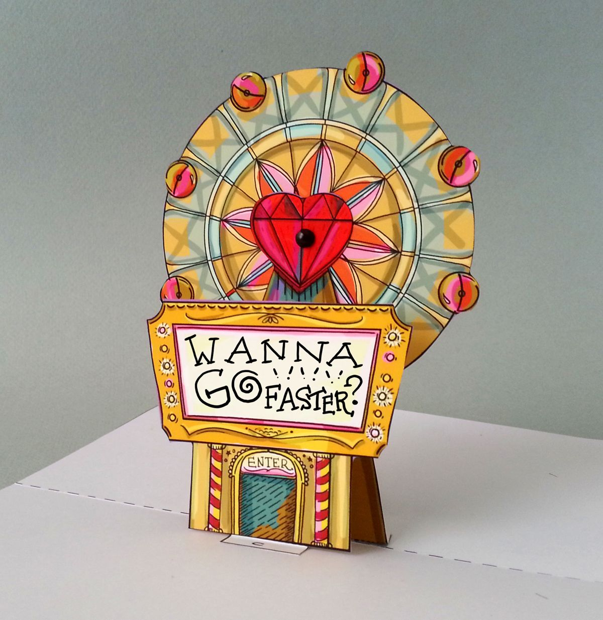 Do You Wanna Go Faster Ferris Wheel Pop Up Card Download Full Color Template With Instructions Great In Pop Up Card Templates Pop Up Cards Paper Doll Craft