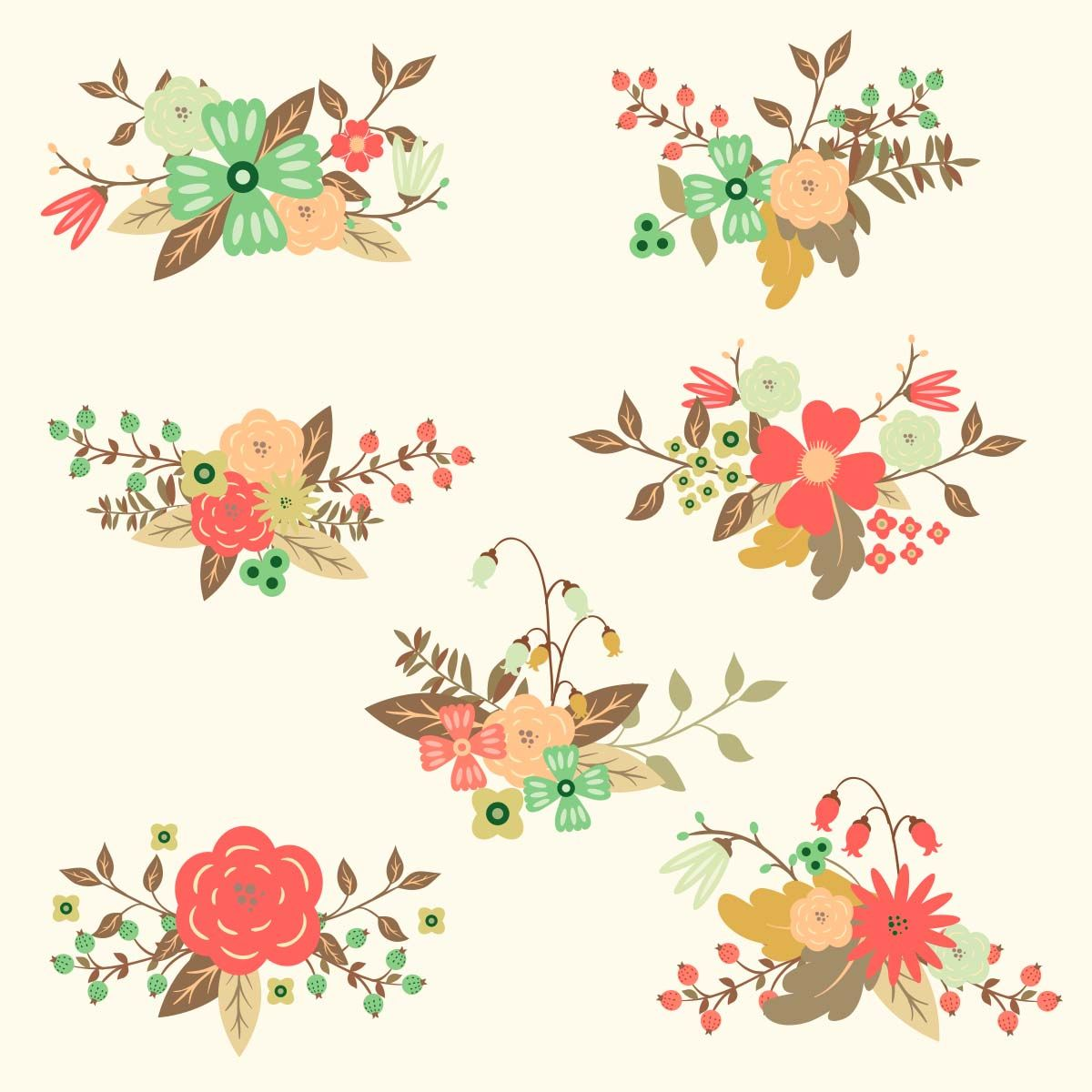 Free Vector Floral Hand Drawn Set Free Download Vector Free Flower Drawing Vector Flowers