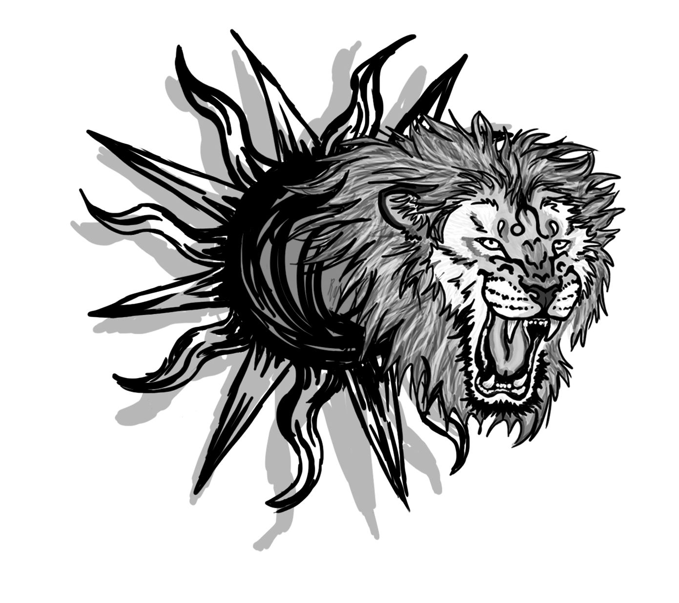 Sunrise tribal tattoo designs tribal sun - Tribal Leo Head Tattoo Design For Men Black Ink Tribal Leo Head Tattoo