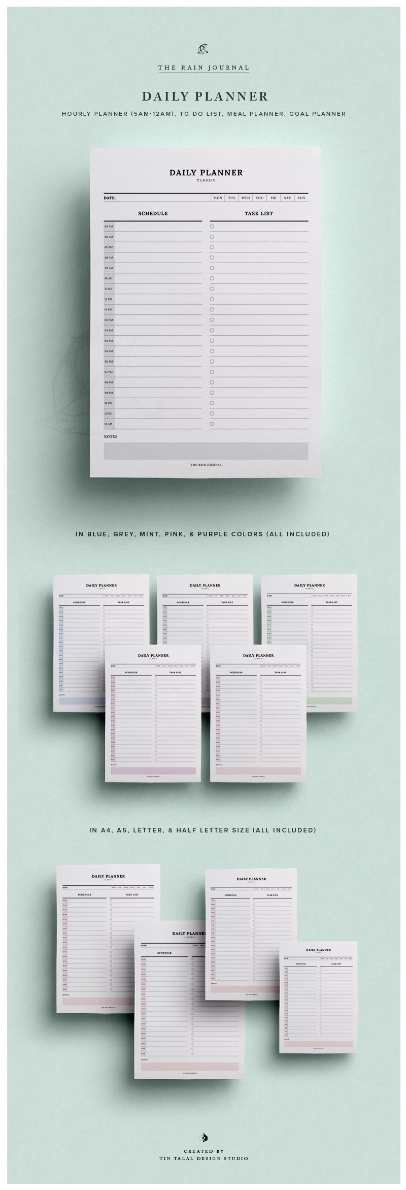 Daily Schedule Printable w/ Hourly Planner & Daily To Do List ...