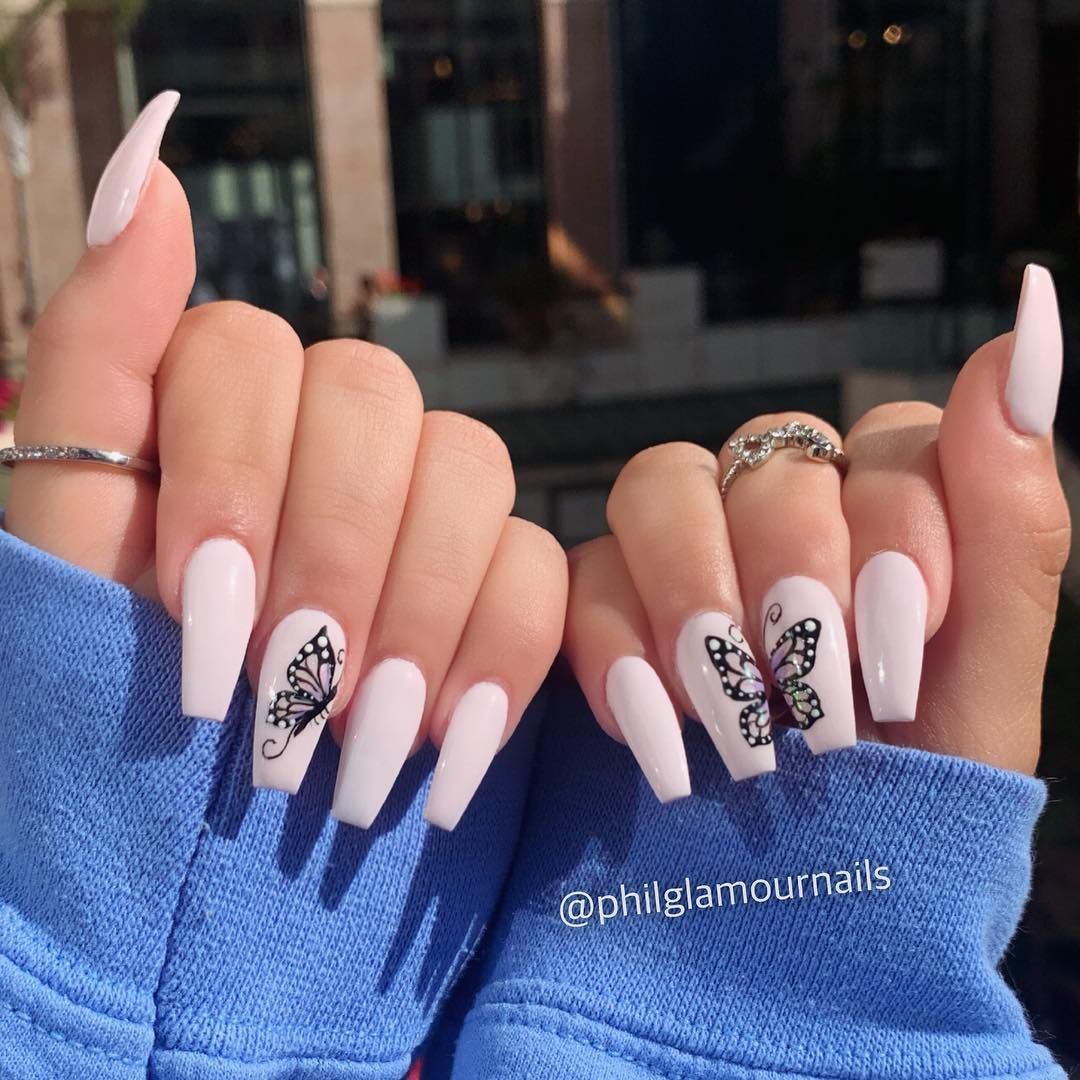 P H I L L I P On Instagram She Wanted It Shot Got It Pretty To See Hard To Catch Nai Best Acrylic Nails Butterfly Nail Art Summer Acrylic Nails