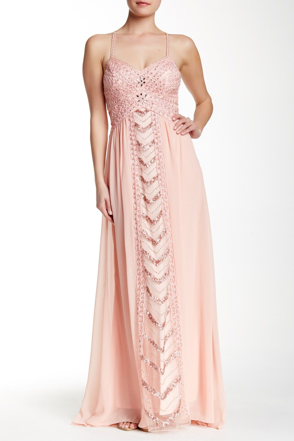 Mesh Combo Long Dress