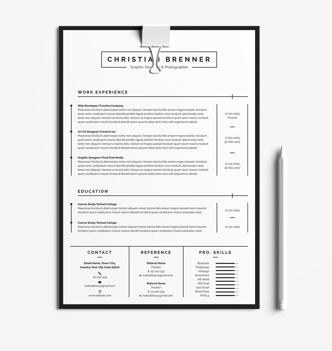 Clean CV With Cover Letter Resume templates, Lettering