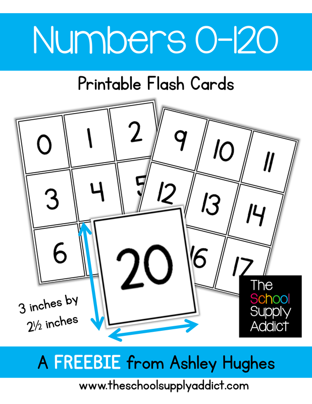 counting number sense activities free numbers 0 120 flash cards from the school supply addict. Black Bedroom Furniture Sets. Home Design Ideas