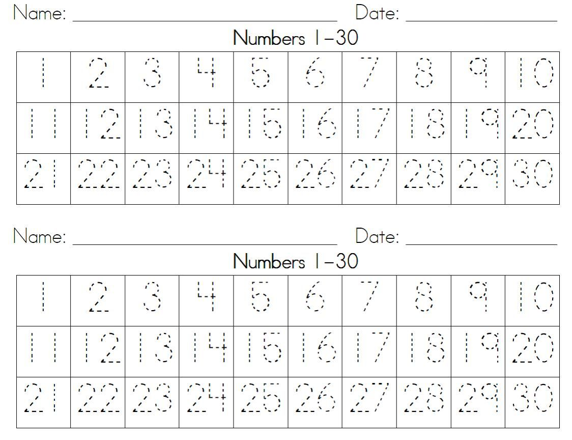 Practice Writing Numbers 1-20 Worksheet