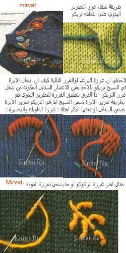 التطريز على التريكو Knitting Charts Knitting Crochet