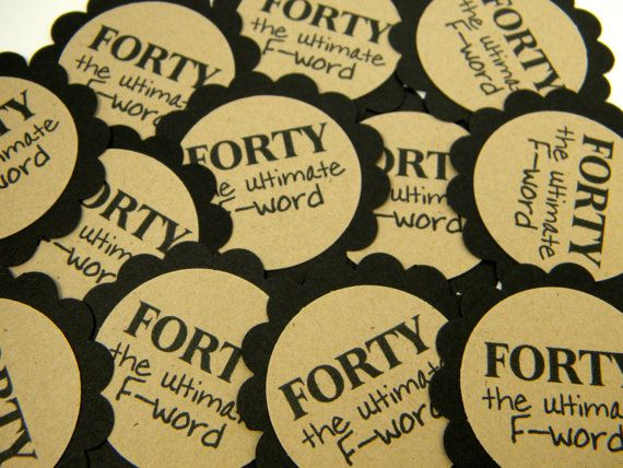 40th Birthday Favor Tags Scalloped Embellishments For DIY Cupcake Toppers Forty Black Kraft Set Of 12