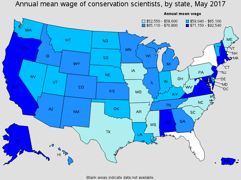 Annual Mean Wage Of Conservation Scientists By State 2017 Interior Design Jobs Design Jobs Interior Design Salary