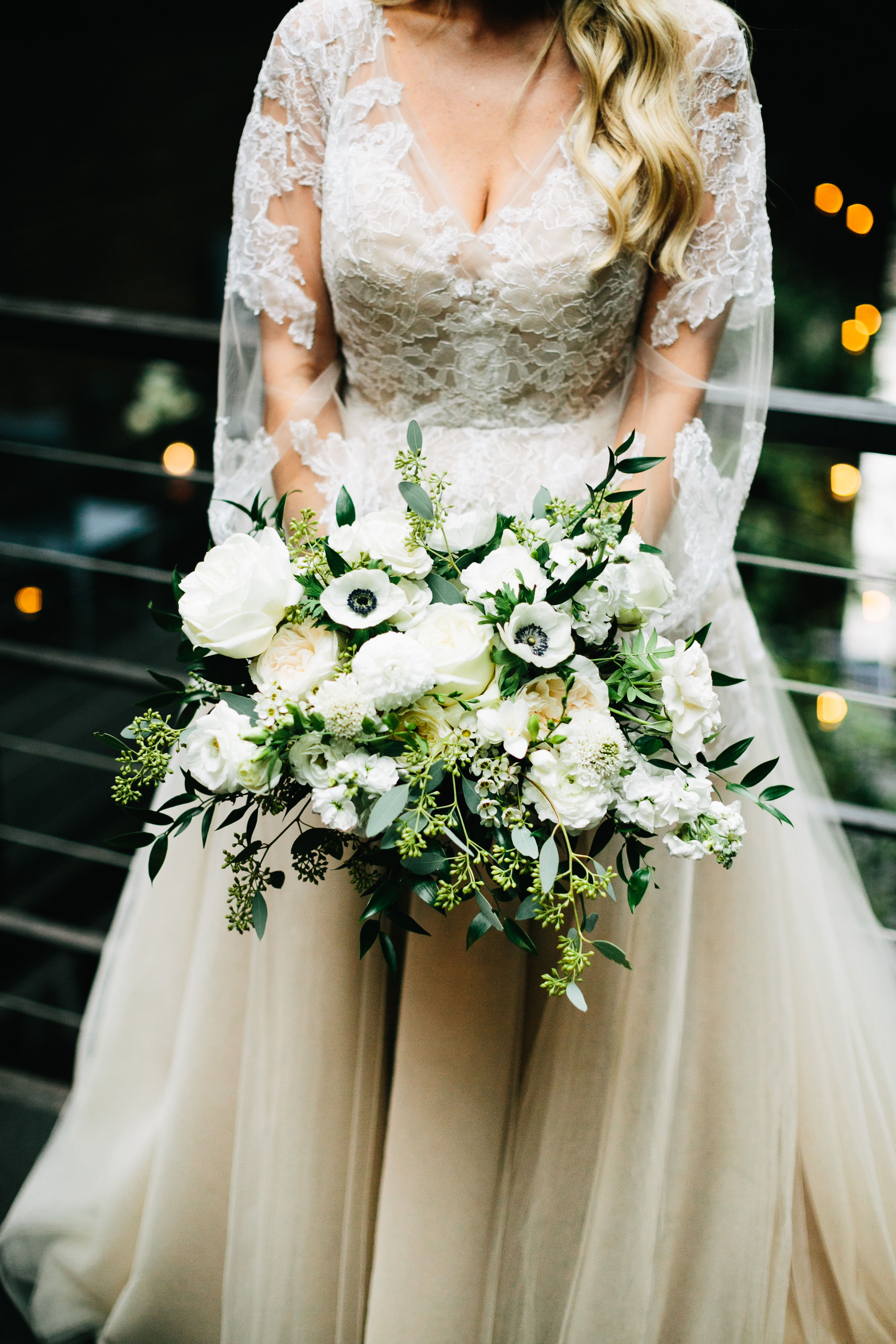 Lush Garden Bridal Bouquet With Anemones Garden Roses And