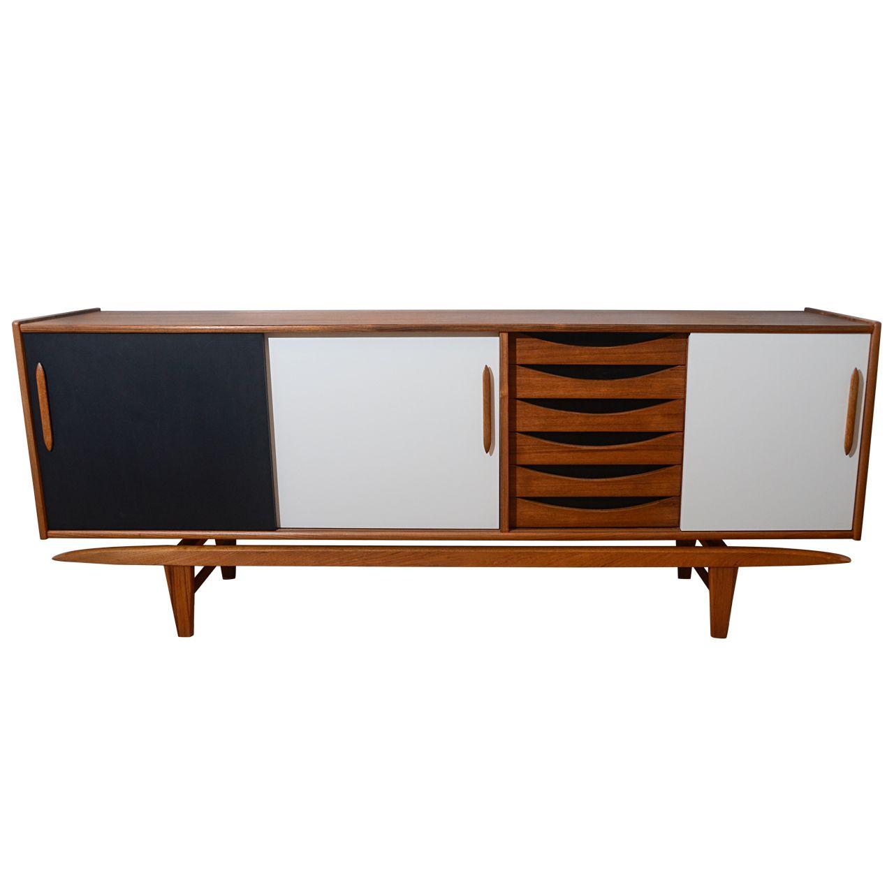 Mid Century Arne Vodder Teak Credenza In Black And White Ca1960 Mid Century Modern Furnishing Teak Credenza Diy Furniture Update