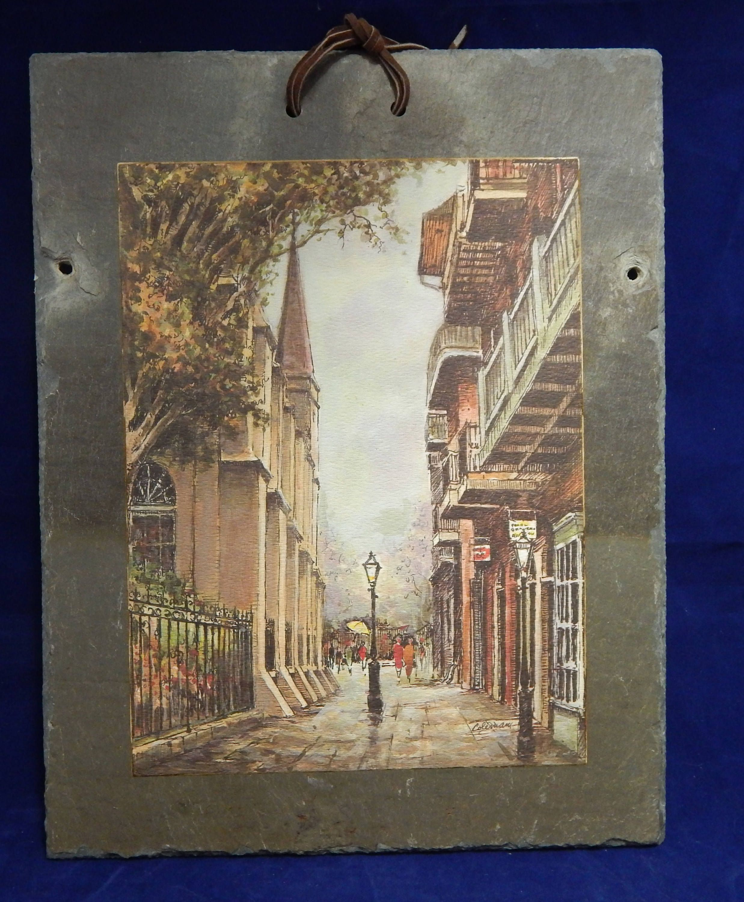 Vintage 11 X 14 Roofing Slate Artwork Of Pirates Alley New Orleans Louisiana Signed By Coleman By Ingrammasattic On Etsy Artwork Vintage Roofing