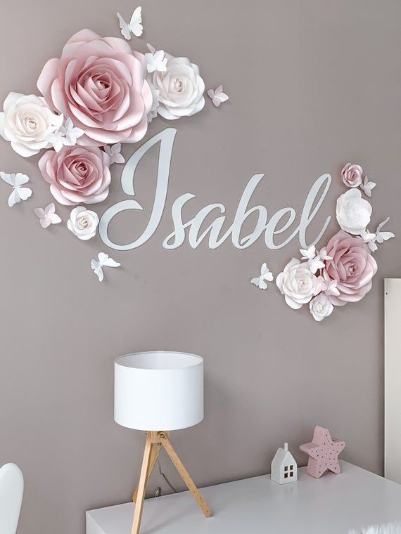 Elegant Set of Paper Flowers in Blush Pink and White - Nursery Paper Flowers Wall Decor - Lase Cut Name - Paper Flowers Decor - Paper Flower