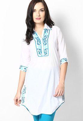 4f8cd6d45 Biba Cotton White Kurta - Buy Women Kurtas   Kurtis Online ...