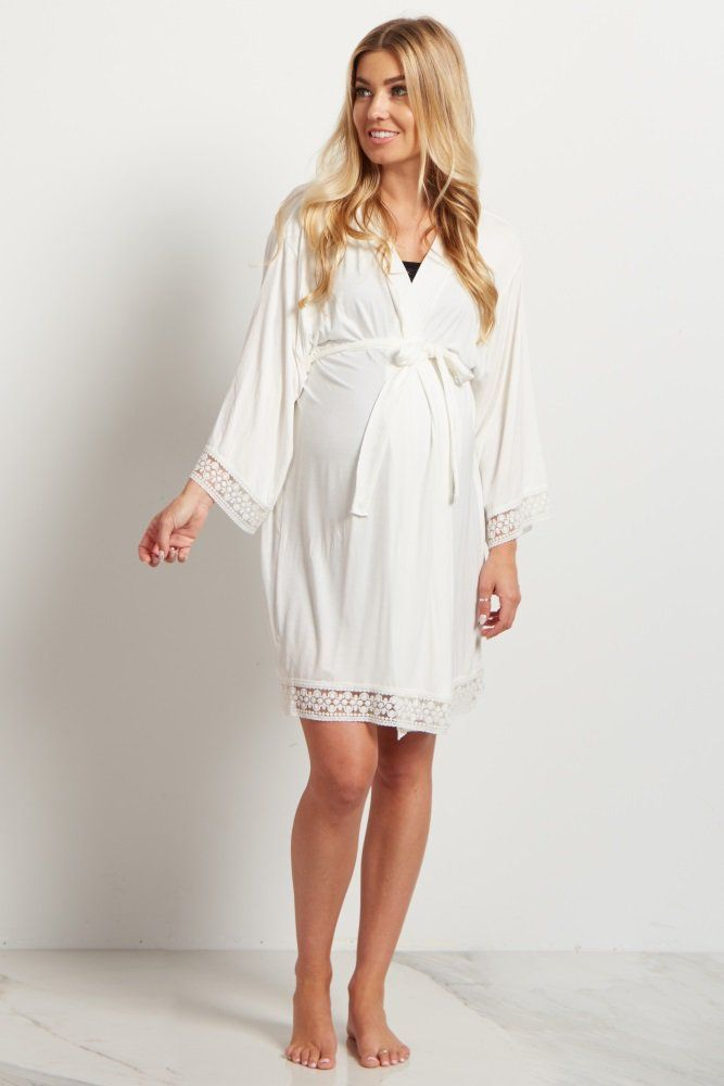 f6b2964f9a8 Ivory Lace Trim Delivery Nursing Maternity Robe