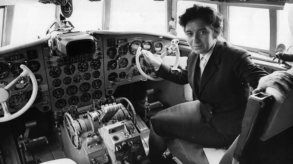 Maria Atanossova, a pilot from Bulgaria, behind the controls of the Russian made aircraft at London Airport, Sept. 29, 1965. She was the first woman to pilot a commercial flight into the UK. (Keystone/Getty Images)  - Glamour in the Skies: Vintage Air Travel Photos | The Weather Channel