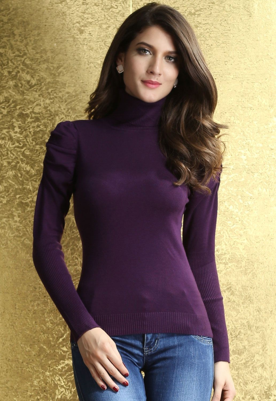 Purple Womens Polo Neck Puff Sleeve Sweater Us 21 32