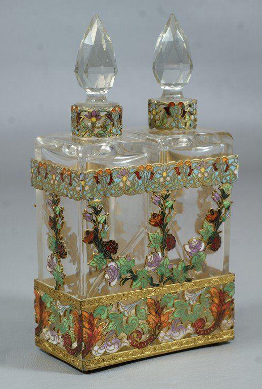 Brass & Cloisonné Perfume Bottles w/ Stand