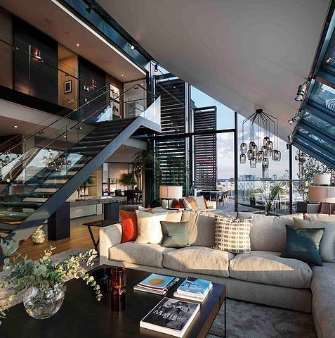 Modern loft residential interiors high ceiling contemporary space also rh in pinterest