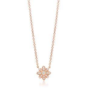 Pendente fiore Tiffany Enchant, in oro rosa 18k con diamanti.