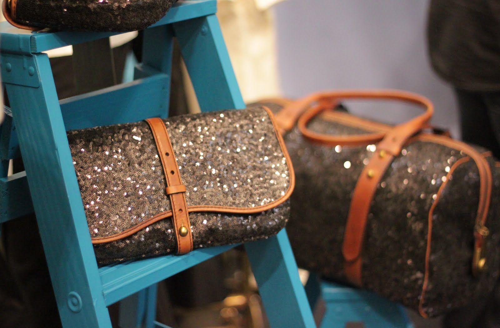 sequin & cognac leather
