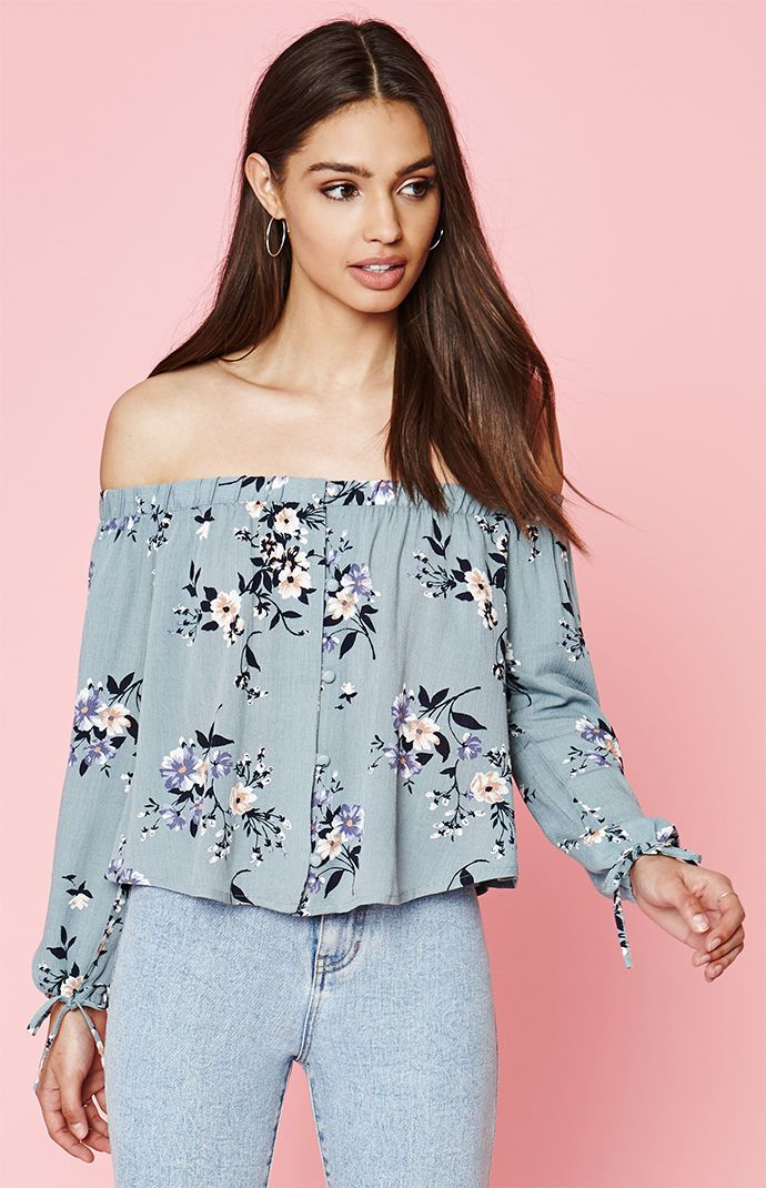 2bad6217d083c Kendall and Kylie Floral Off-The-Shoulder Button Front Top at PacSun ...