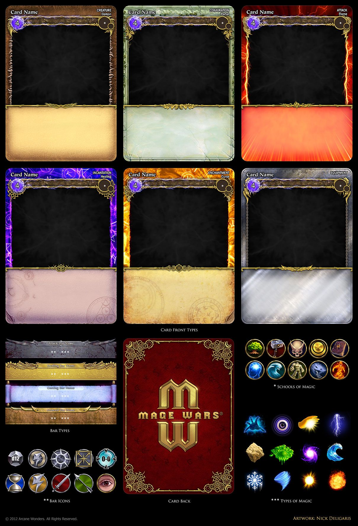 Mage Wars Card Assets By Deligaris On Deviantart Game Card Design Trading Card Template Card Template