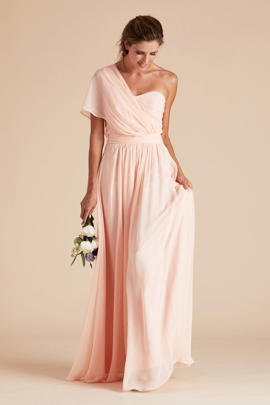Birdy Grey Gracie Chiffon Convertible Bridesmaid Dress In Blush Pink How To Tie With One Shoulder Sleeve Under 100