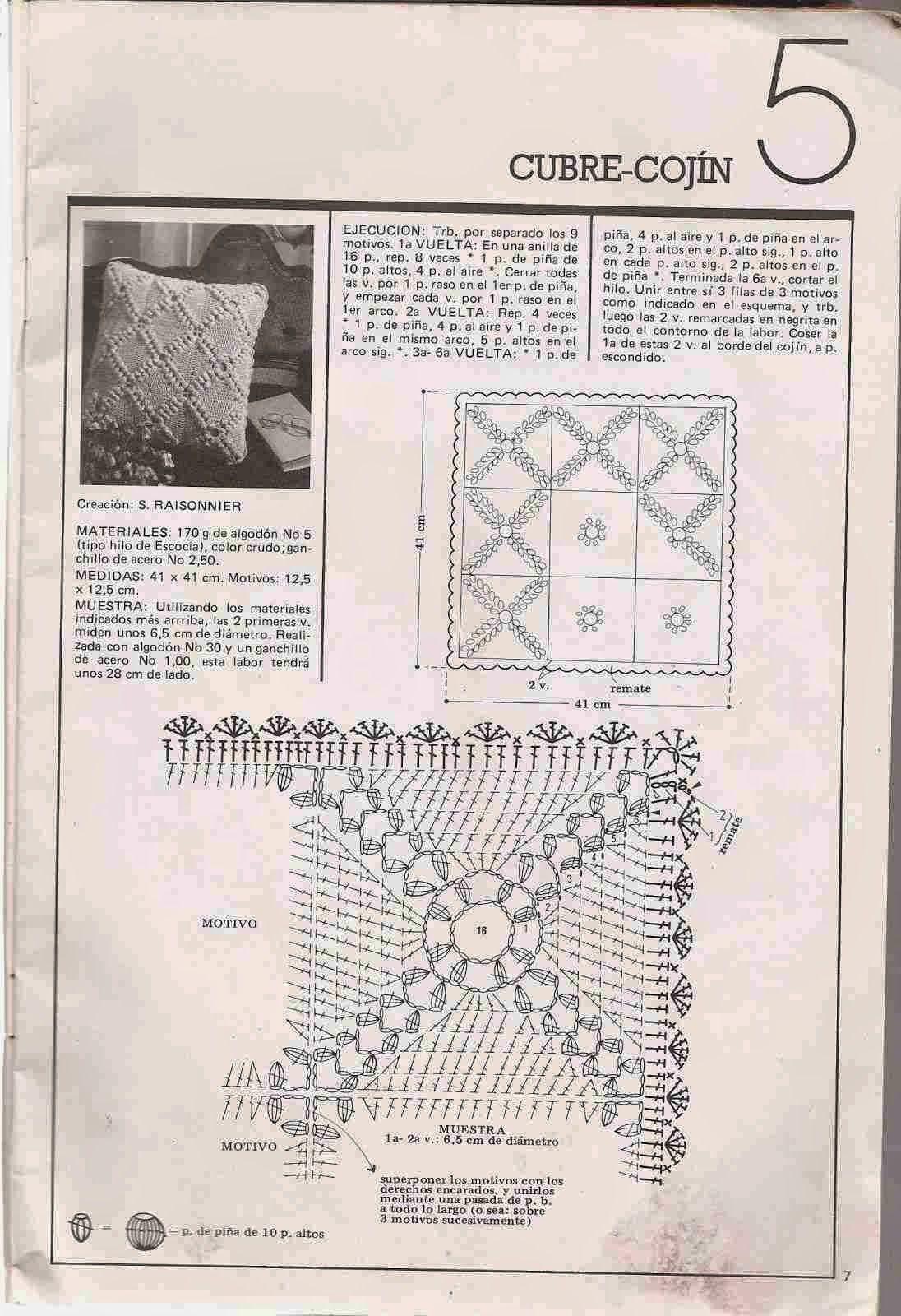 Patrón #279: Cubre Cojín a Crochet ~ CTejidas [Crochet y Dos Agujas ...