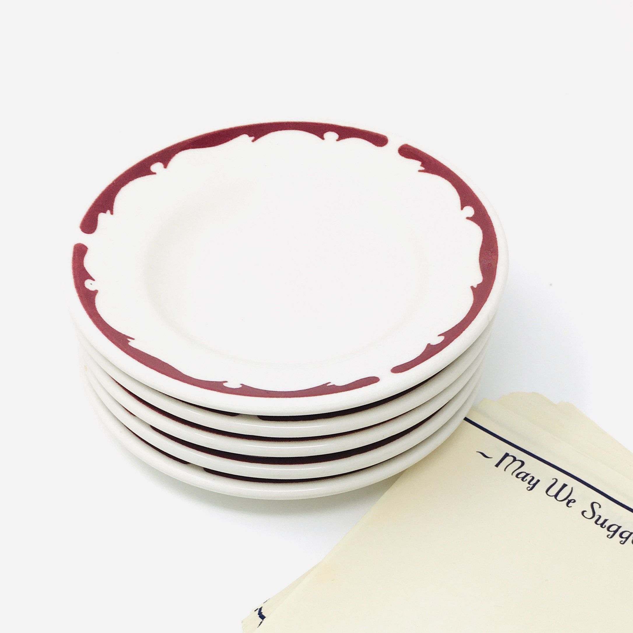 Buffalo China Red Crest Bread Plates Set Of Seven Restaurant