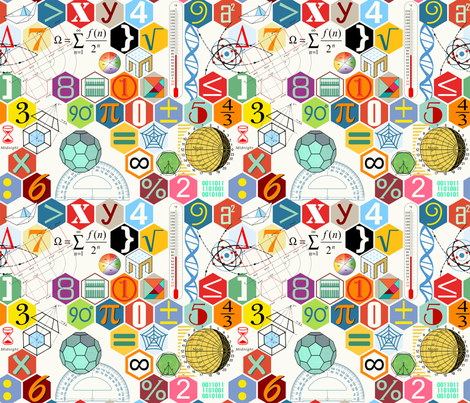 Math in color (White)sc50 fabric by chicca_besso on