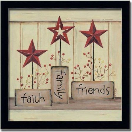 Amazon Com Faith Family Friends Country Star Decor Sign Art Framed Home
