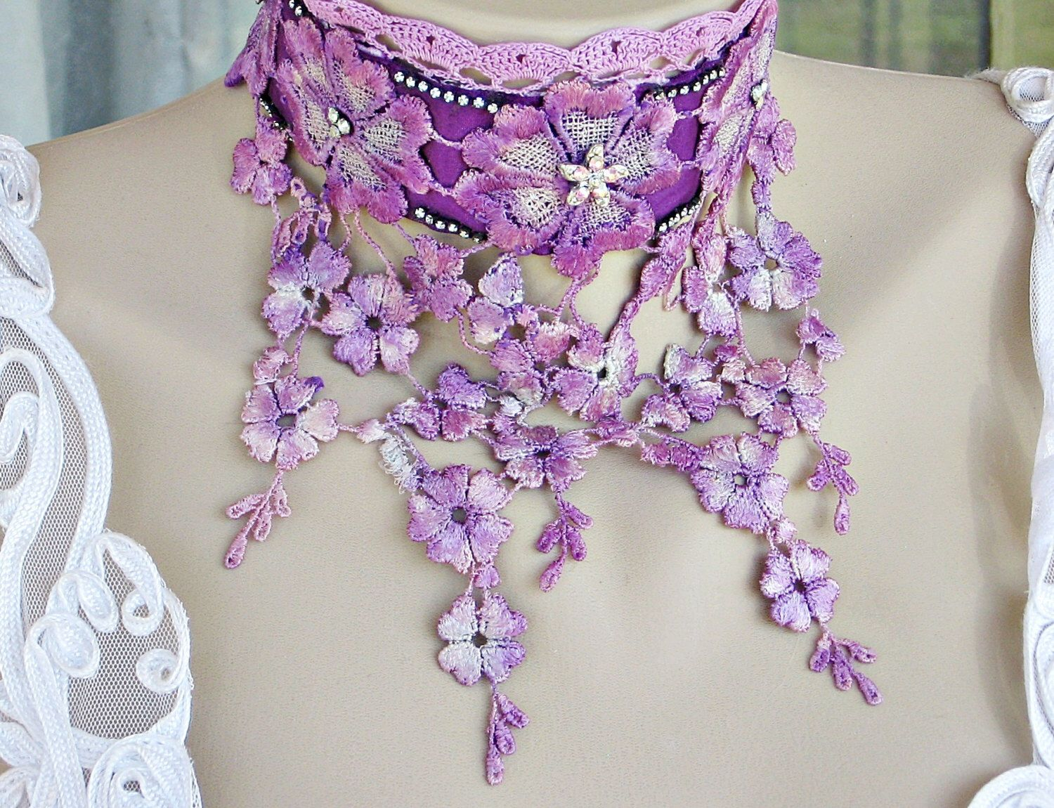 Purple Victorian Lace Choker, Lace Art Deco Choker, Hand Dyed Purple Lace Flower Bib Necklace, Lace Flower Bridal Choker, Lace Jewelry by LaVieilleLune on Etsy https://www.etsy.com/listing/125822006/purple-victorian-lace-choker-lace-art